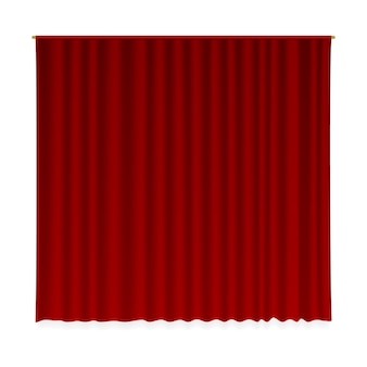 Closed curtain.   realistic velvet textile decoration drapery . luxury closed red curtain cloth stage interior decor