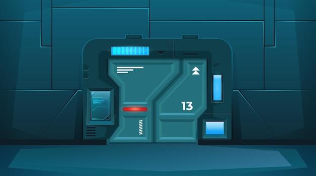Closed door on spaceship