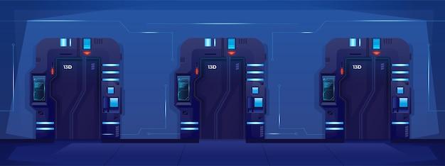 Закрытые двери в тюрьме на космическом корабле spaceship jail