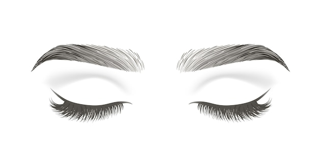 Closed eye with long false eyelashes and black eyebrows isolated on white background