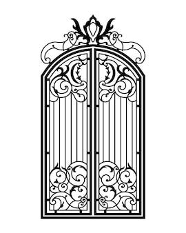Закрытые кованые богато украшенные ворота. черный силуэт. векторная иллюстрация.