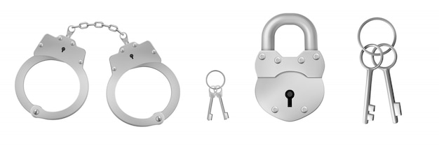 Closed handcuffs and padlock with keys.