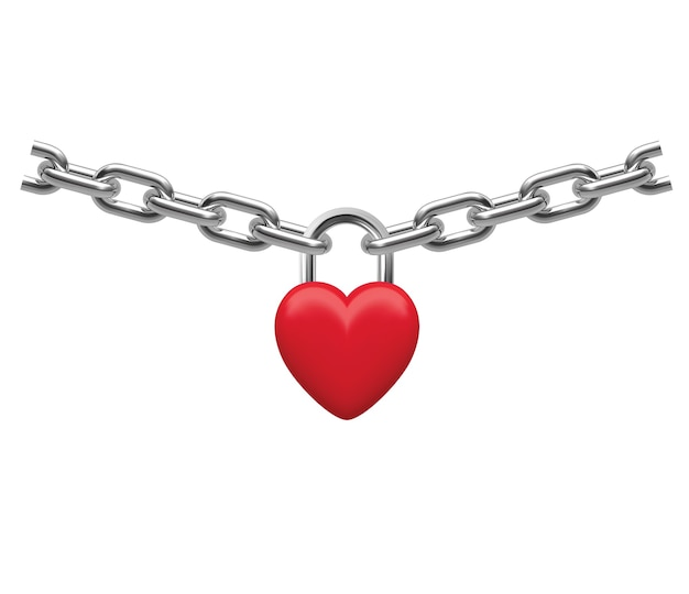 Closed heart lock hanging on chain isolated on white realistic illustration