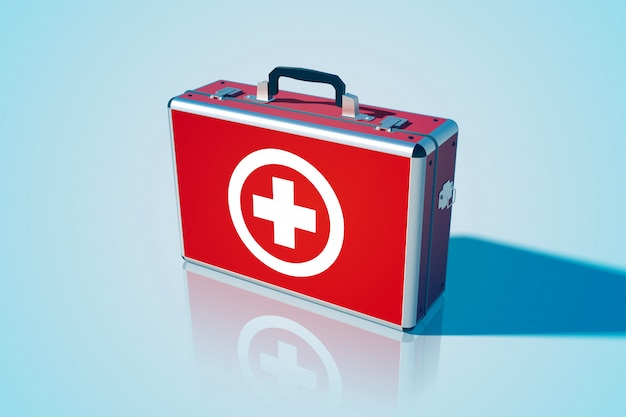 Closed medical bag template in realistic style on blue illustration