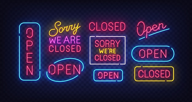 Closed neon sign. open neon sign.