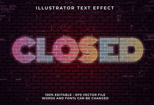 Closed neon text effect