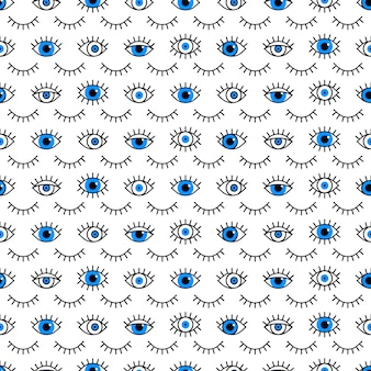 Closed and open eyes pattern in line style.