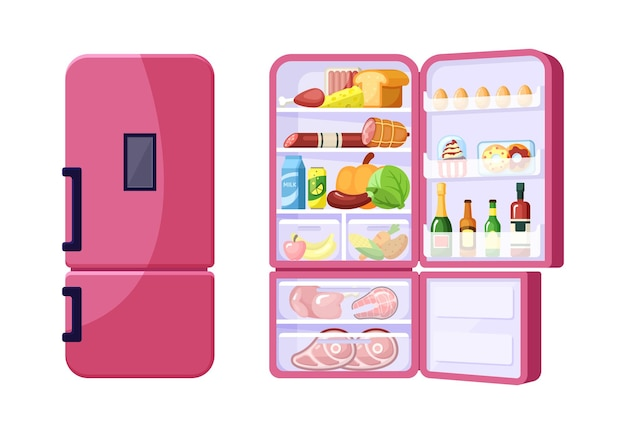 Closed and open fridge with assortment of grocery products flat s. dish ingredients in red refrigerator. fruit, vegetables and beverages. meat and dairy. gastronomy goods