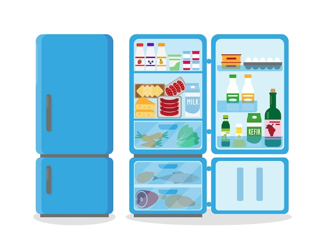 Closed and opened blue refrigerator full of food