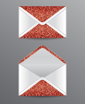 Closed and opened envelopes with red glittering elements.