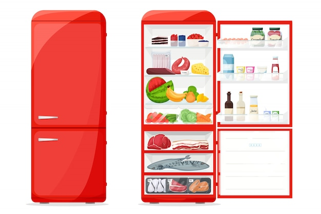 Closed and opened fridge with healthy food