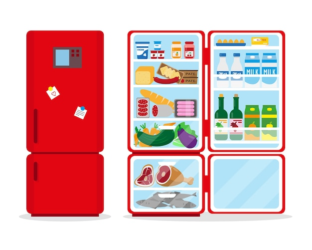 Closed and opened refrigerators full of food.