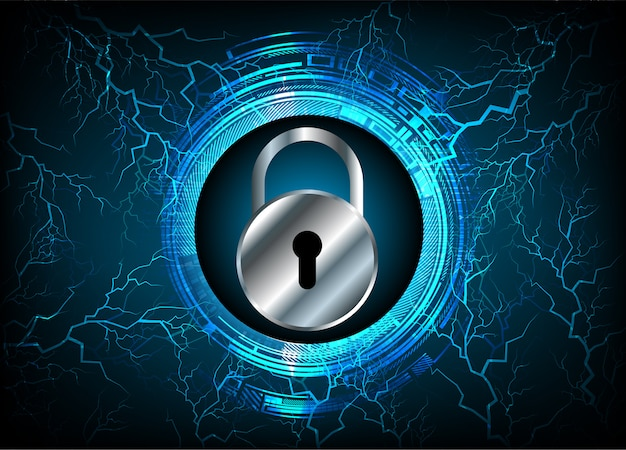 Closed padlock on digital background, cyber security