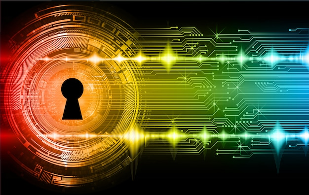 Closed padlock digital background, cyber security