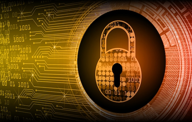 Closed padlock digital background, cyber security
