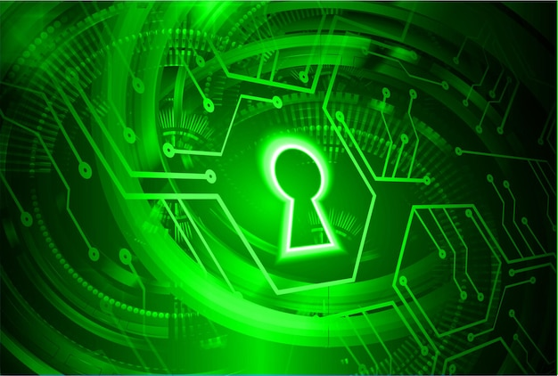 Closed padlock on digital background cyber security