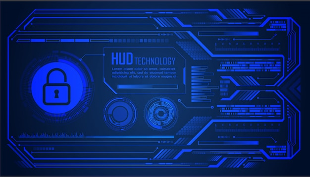 Closed padlock on digital background, hud cyber security