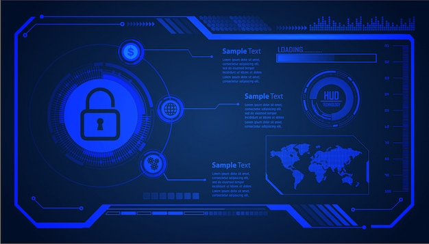 Closed padlock on digital background, hud world cyber security