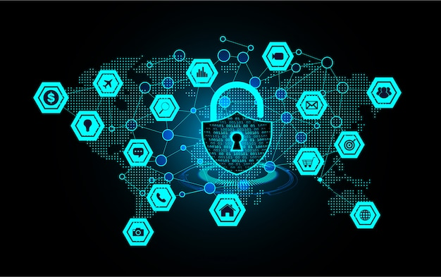 Closed padlock on digital background, world network cyber security