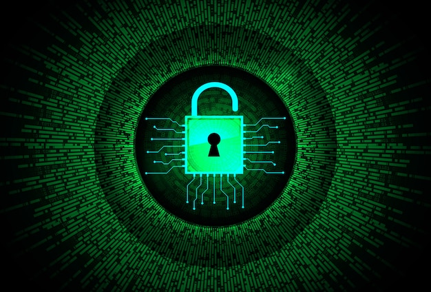 Closed padlock on digital, cyber security