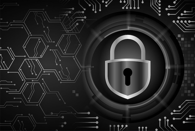 Closed padlock on digital, cyber security
