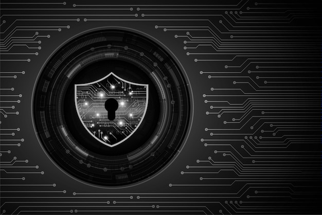 デジタル背景に黒い南京錠、黒い主なサイバーセキュリティ