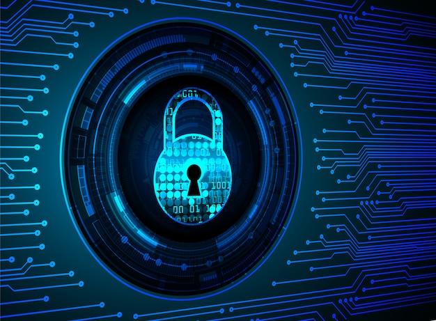 デジタル背景、青いサイバーセキュリティ上の南京錠を閉鎖