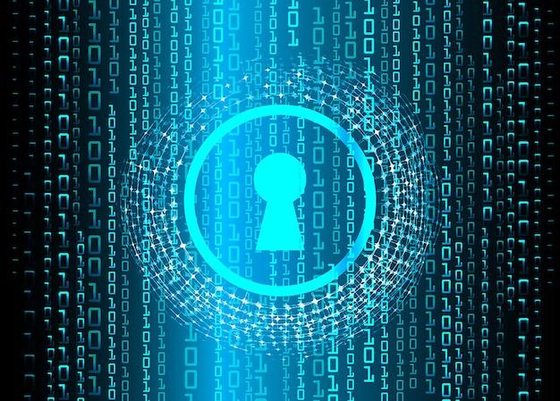디지털 배경 사이버 보안 사이버 회로 미래 기술 개념에 닫힌 자물쇠
