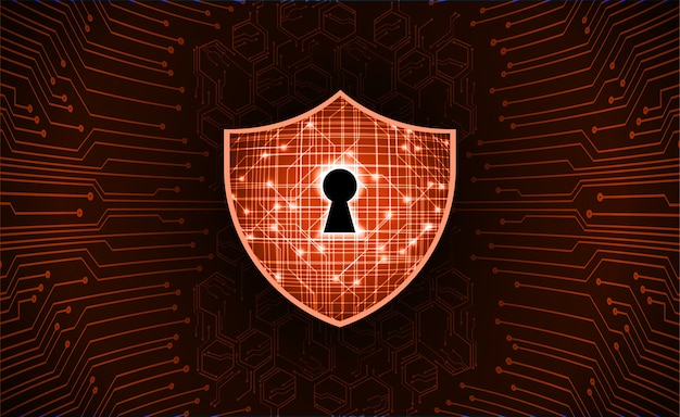 Закрытый замок на цифровом фоне, кибербезопасность