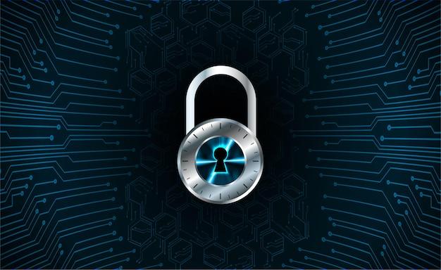 Закрытый замок на цифровом фоне кибербезопасности