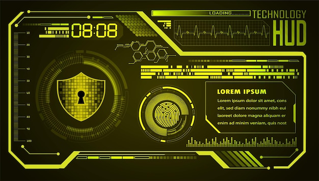 デジタル背景hudサイバーセキュリティの南京錠を閉じました