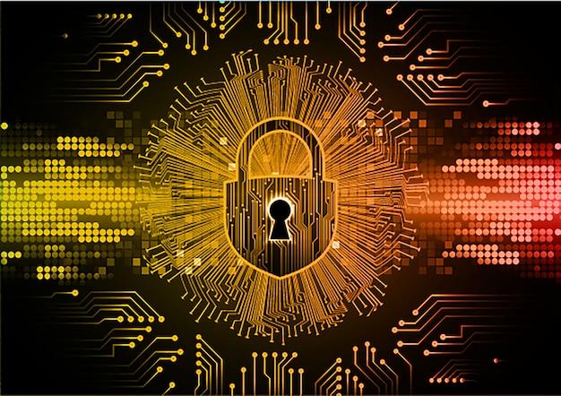 디지털 배경, 주황색 사이버 보안에 닫힌 자물쇠