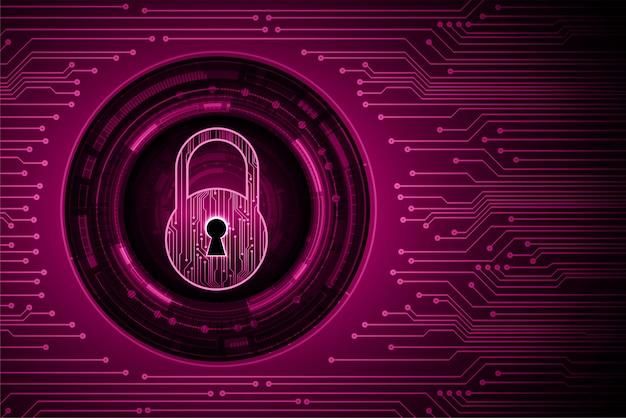 Закрытый замок на цифровом фоне, фиолетовый кибербезопасности