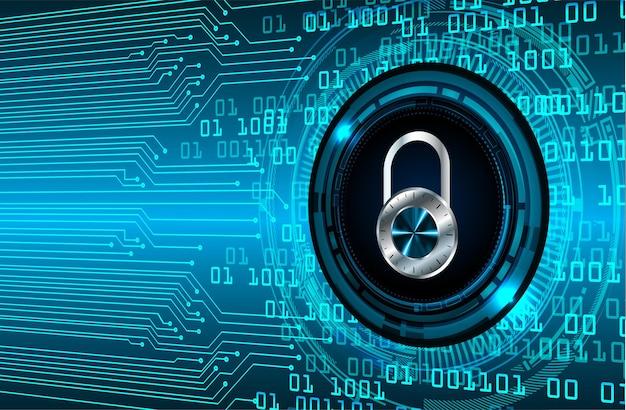 Закрытый замок на цифровом фоне концепция безопасности технологии современная безопасность