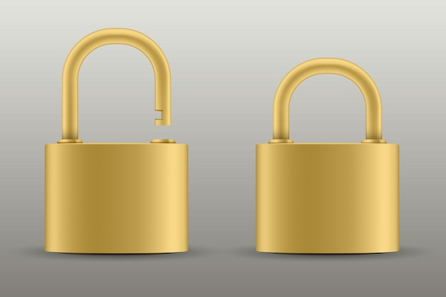 Closed padlock for protection, metal steel lock.