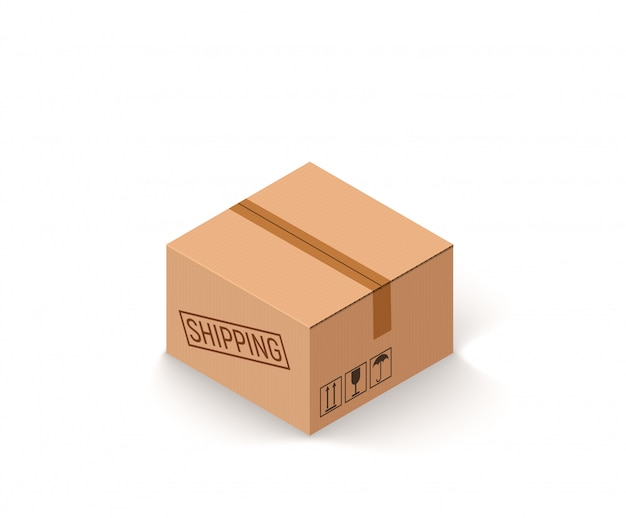 Closed parcel cardboard box isolated on white isometric vector illustration