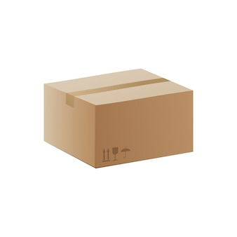 Closed recycle brown carton delivery box, realistic vector illustration isolated . 3d template of cardboard parcel packaging container.