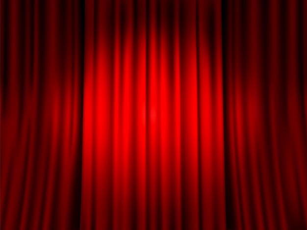 赤いカーテンを閉めました。赤いベルベットのベールの背景、ドラマ劇場、文化のプレゼンテーションとエンターテイメントのベクトルの背景のためのベロアテキスタイルドレープステージの装飾にスポットライトラウンドスポット
