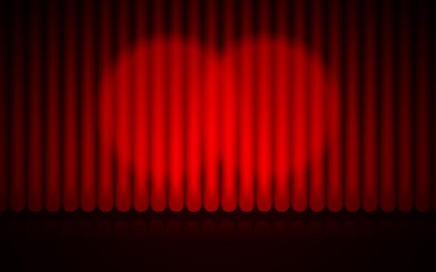 閉じた赤いカーテンステージの背景スポットライトビームで照らされた劇場用ドレープ