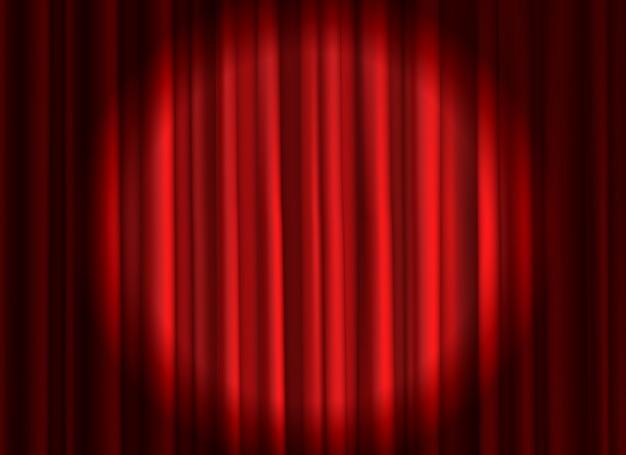 閉じた赤いカーテン。劇場用ドレープステージカーテンオープニングセレモニーシアター映画スポットライトクローズドベルベットファブリック背景