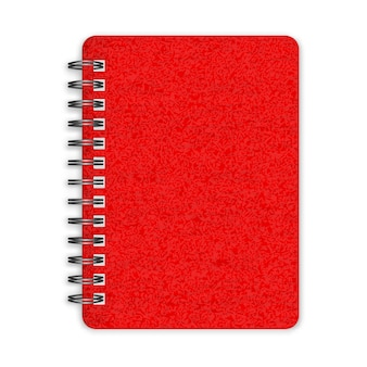 Closed red spiral notebook