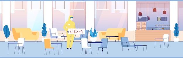 폐쇄 된 레스토랑. 카페 인테리어, 빈 푸드 코트 또는 커피 바