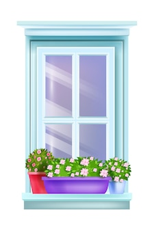 Closed retro house window exterior vintage view with flowerpots, home plants, sill, isolated blossom roses.