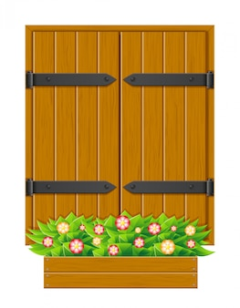 Closed shutter wooden window for design vector illustration