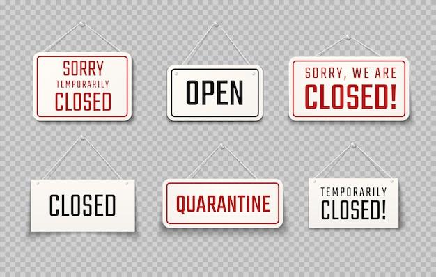닫힌 기호입니다. 코로나바이러스 현실적인 표지판, 카페와 레스토랑을 위한 covid-19 검역 간판의 임시 폐쇄. 벡터 설정 그림 배너 메시지 제한 또는 잠긴 비즈니스 기호