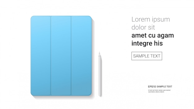 흰 벽 현실적인 이랑 가제트 및 장치 개념에 고립 된 스타일러스와 닫힌 된 태블릿