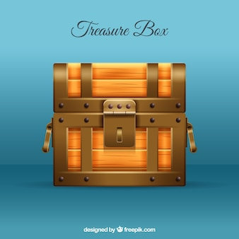 Closed treasure box with realistic style