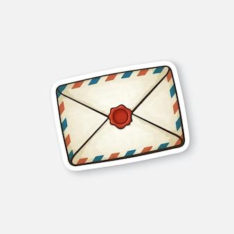 ワックスシール付きの閉じたビンテージメール封筒受信メッセージを読んでいないベクトル図