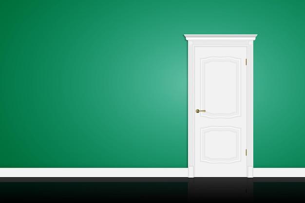 Закрытая белая дверь на фоне зеленой стены. вектор