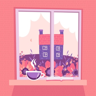 봄 풍경을 볼 수있는 닫힌 창. 구름, 초원, 오래 된 counry 집 핑크 하늘. 창턱에 커피 한 잔과 책이 놓여 있습니다.